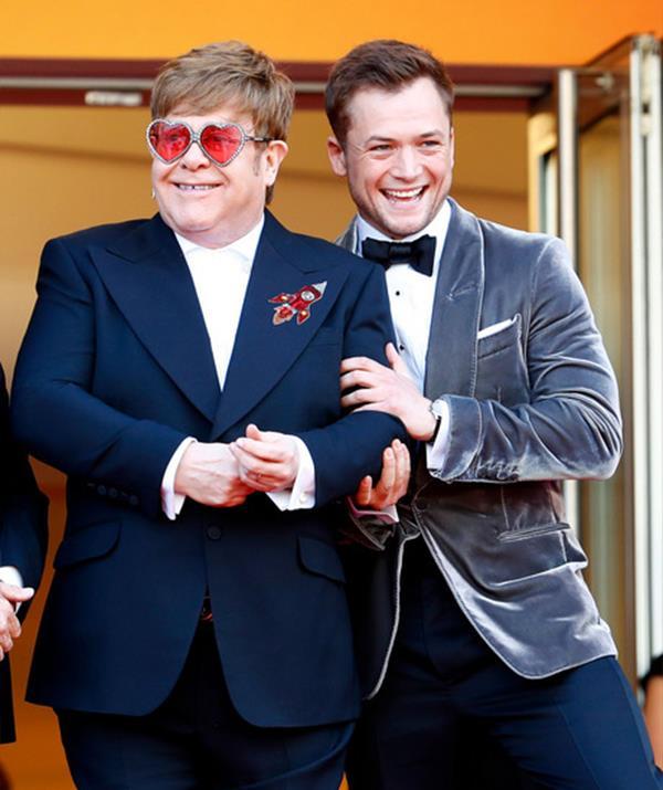 Elton John and Taron Egerton promoting *Rocketman*. *(Getty Images)*