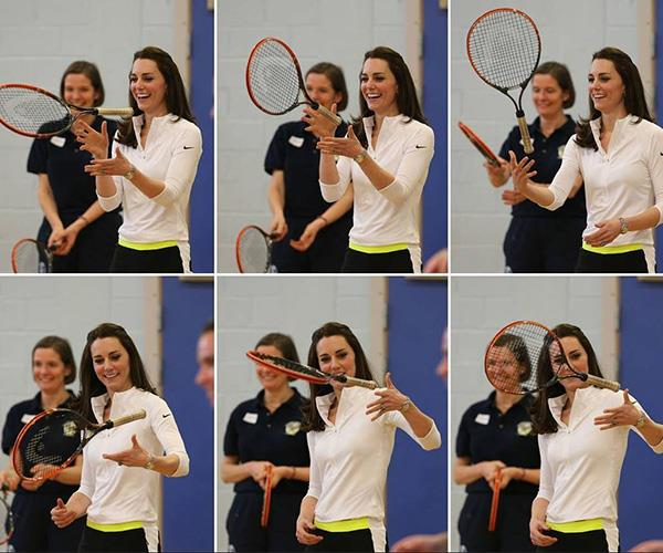 Tennis lover Kate knows her way around a racket!