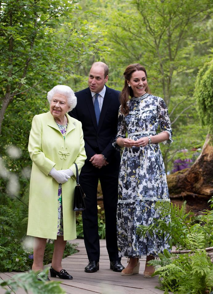 Kate and William showed the Queen around the stunning garden.