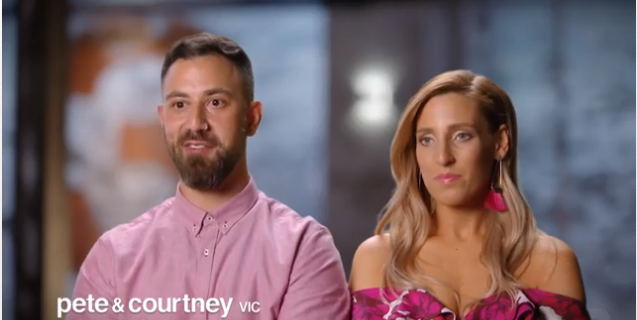 The real Pete and Courtney look quite different. *(Image: Channel Seven)*