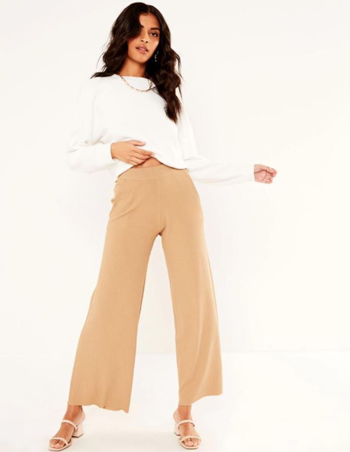 "Glassons Wide Leg Rib Pants, $39.99, shop them [here](https://www.glassons.com/clothing/pants-leggings/casual-pants/wide-leg-rib-pants-PW41455RIB?c=SIR+CAMELOT|target=""_blank""