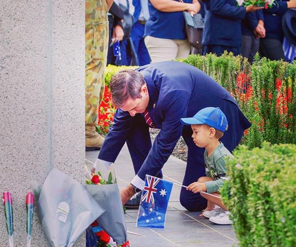 On Anzac Day, Jim and his eldest son Leo laid a wreath together for the first time.