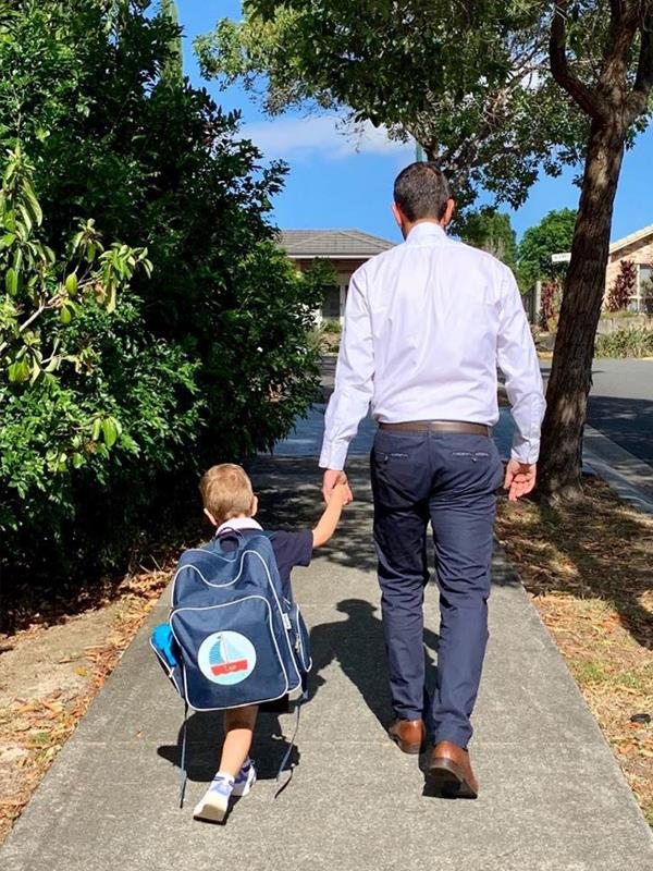 What a milestone: Jim accompanied his eldest son Leo to his first day of kindy. The backpack is as big as him!