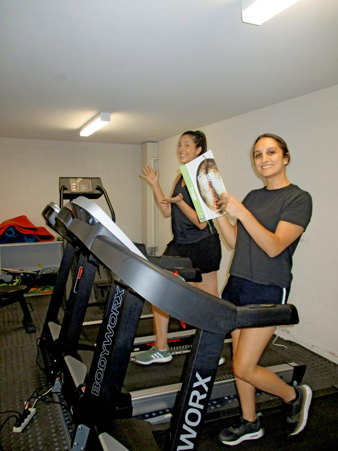 Monica and Larissa let off some steam in the house gym (Image: Supplied).