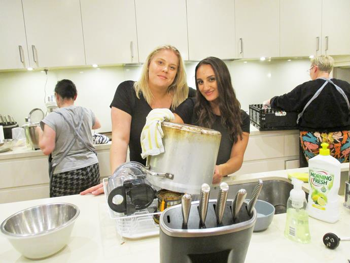 It's Abbey and Larrisa's turn to wash up! (Image: Supplied).
