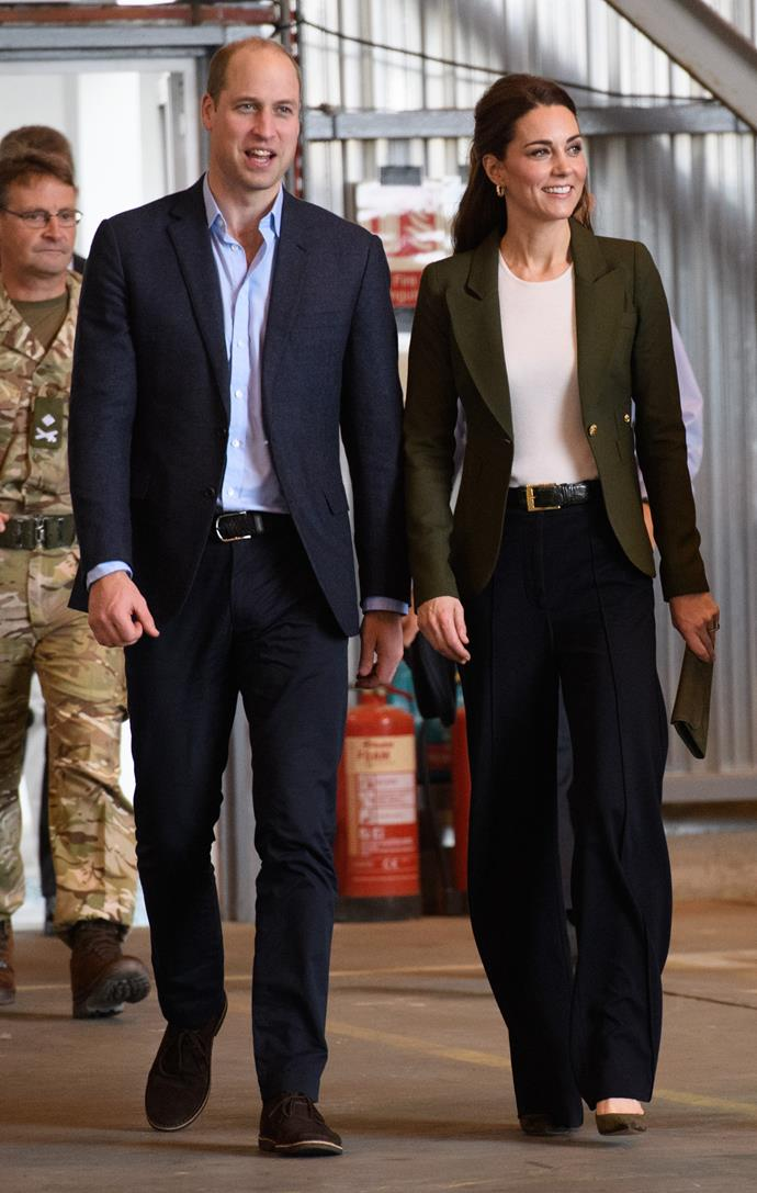 "While [visiting Cyprus](https://www.nowtolove.com.au/travel/travel-news/prince-william-kate-middleton-cyprus-52906|target=""_blank"") with husband Prince William in December last year, Duchess Catherine wore a pair of chic wide-legged trousers with her Smythe blazer - and frankly, we couldn't stop staring."