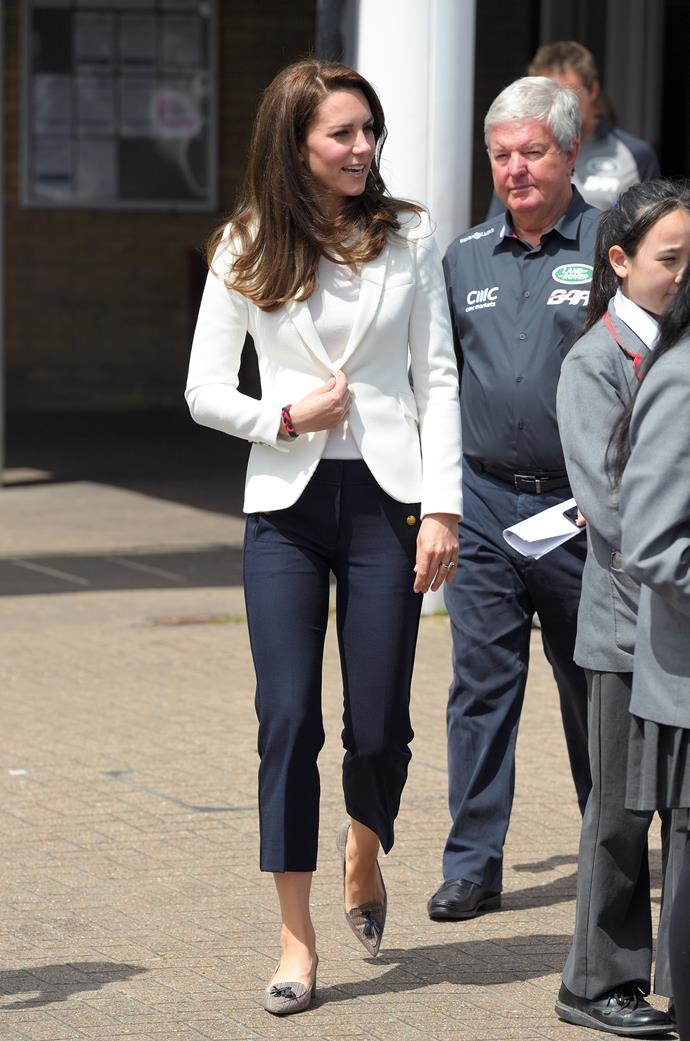 In 2017, Kate visited the 1851 Trust roadshow wearing a pair of cropped J. Crew trousers in navy blue, and it provided all the sailor-chic inspo we never knew we needed!