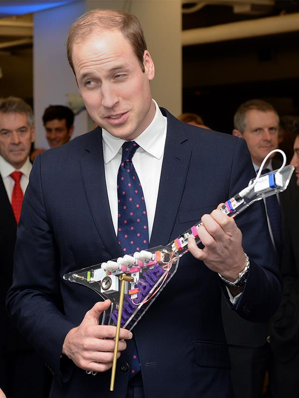 """Prince William is apparently """"a bit good"""" on the bass guitar."""