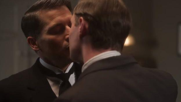 A very intriguing kiss on Downton Abbey.