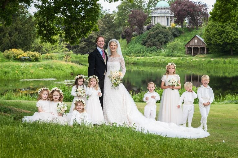 Lady Gabriella and Thomas with their adorable bridal party. *(Image: Hugo Burnand via Getty)*