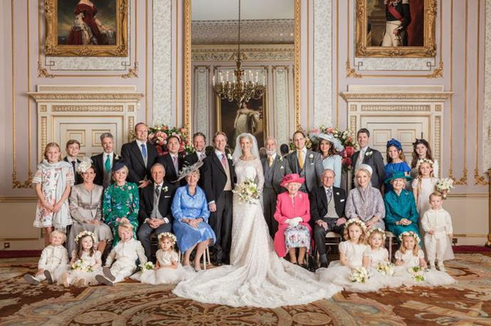 Can you spot the Queen in her bright pink get-up?