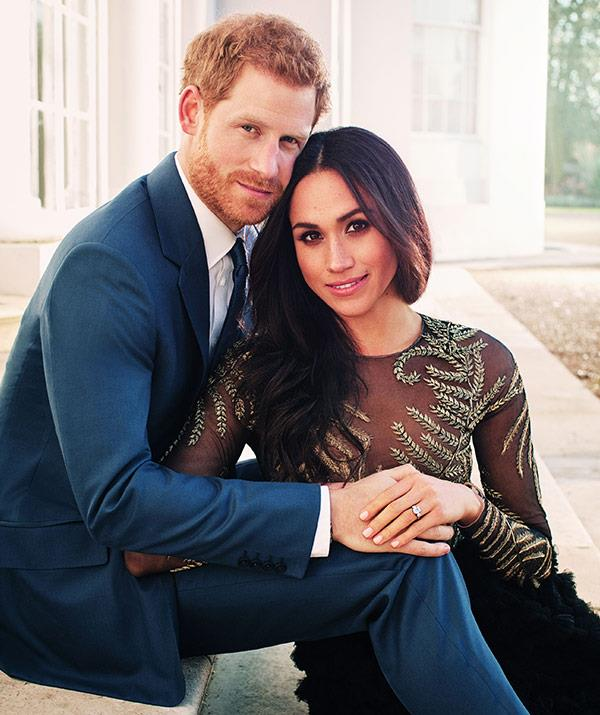 Sitting on the white steps of the iconic mansion for their official engagement portraits.