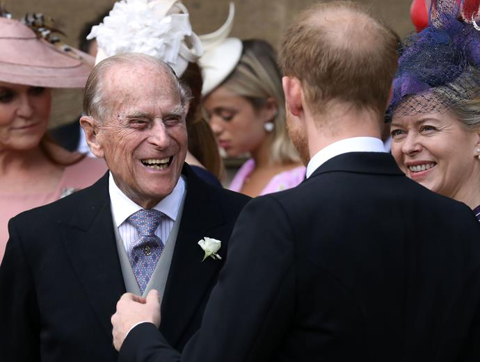Harry joking with Prince William at Lady Gabriella's Windsor wedding last weekend.