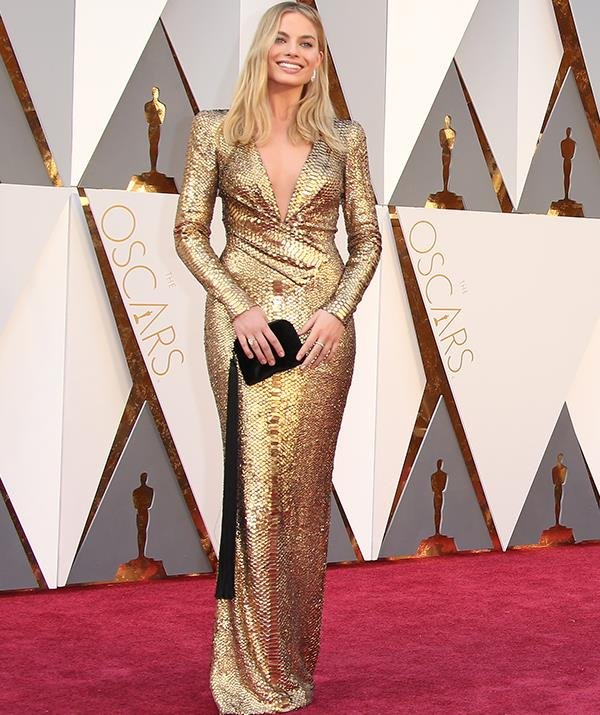 Golden girl indeed! At the 2016 Oscars, Margot looked heavenly in a shimmering golden frock designed by Tom Ford.