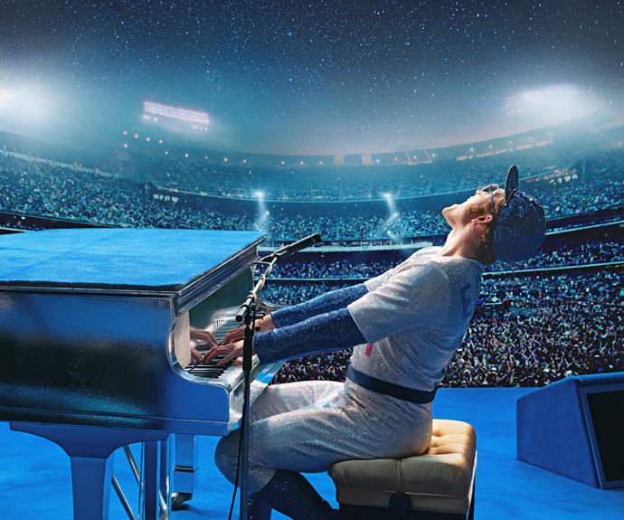Taron Egerton recreates the iconic 1975 Dodger Stadium performance.