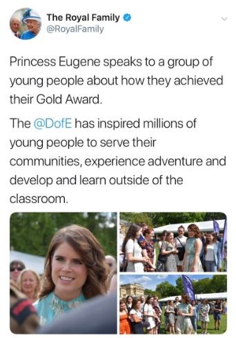 Whoops! Princess Eugenie's name had a minor spelling error! *(Twitter / @RoyalFamily)*