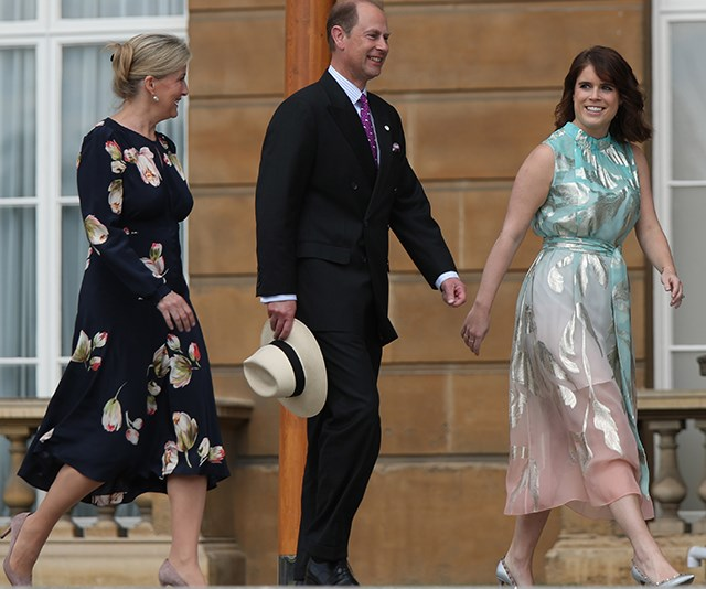 Princess Eugenie with her aunt and uncle, Sophie, Countess of Wessex and Prince Edward. *(Image: Getty)*