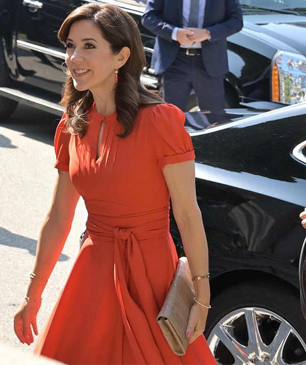 Crown Princess Mary looked radiant in the bright Marc Jacobs dress.