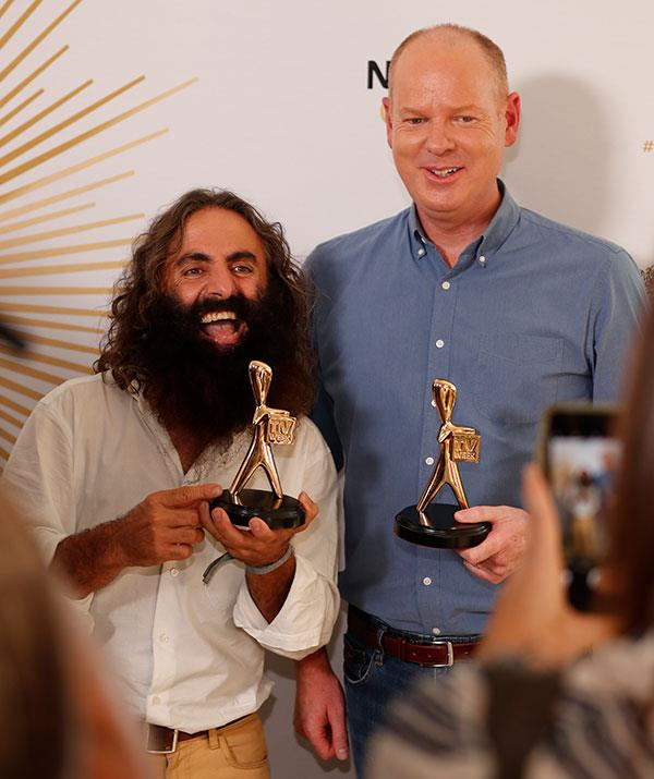 Costa and Tom pose with Gold Logies