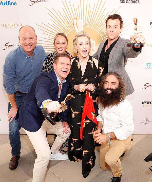 Meet your Gold Logie nominees for 2019! Clockwise from left: Tom Gleeson, Eve Morey, Amanda Keller, Rodger Corser, Costa Georgiadis and Sam Mac (Not pictured: Waleed Aly, who is also nominated for Gold).