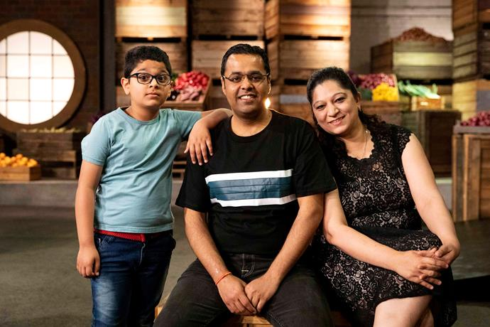 Sandeep with his wife Prahalika and his son Siddhant (Image: Network 10.)