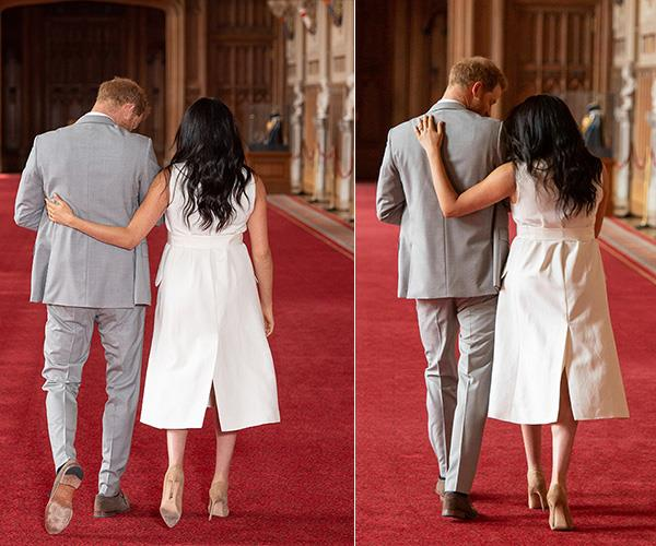 After their first photo call as a family of three, Meghan couldn't help but put a loving arm around her husband.
