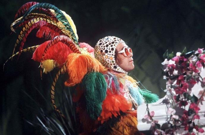 Elton in one of his most flamboyant costumes in the 70s.