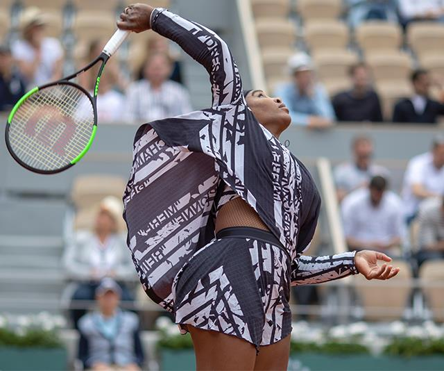 "Adorned with the French words for ""Mother, Champion, Queen, Goddess"", Serena made an on-court statement like no other."