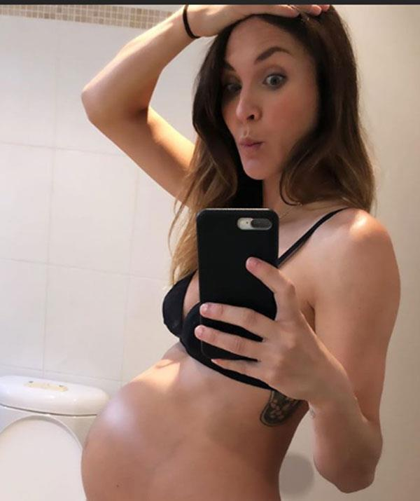 Not long to go now! Laura showed off her 39-week baby bump.