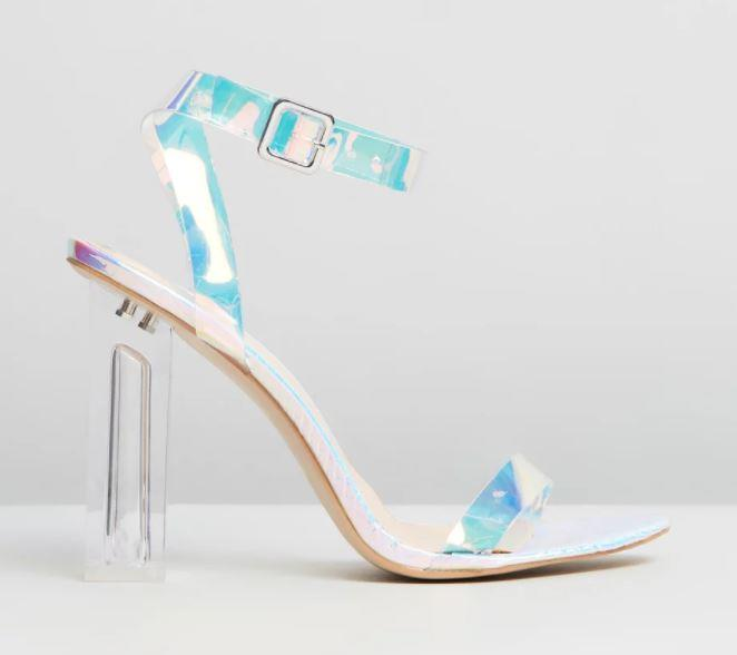 "Public desire Alia heels, available from The Iconic for $64. Buy them [here](https://www.theiconic.com.au/alia-perspex-high-heels-723040.html|target=""_blank""