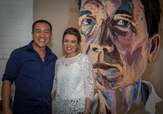 Dannii Minogue with Anh Do, on *Anh's Brush with Fame*.