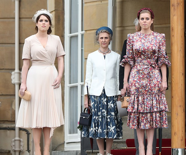 Princess Eugenie and Princess Beatrice looked chic at this weeks' garden party. *(Image: Getty)*