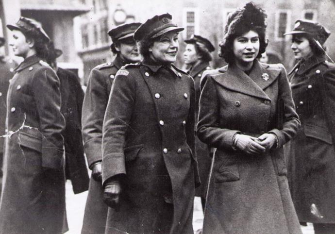 Queen Elizabeth is pictured with Margaret Baxter in the 1940s.