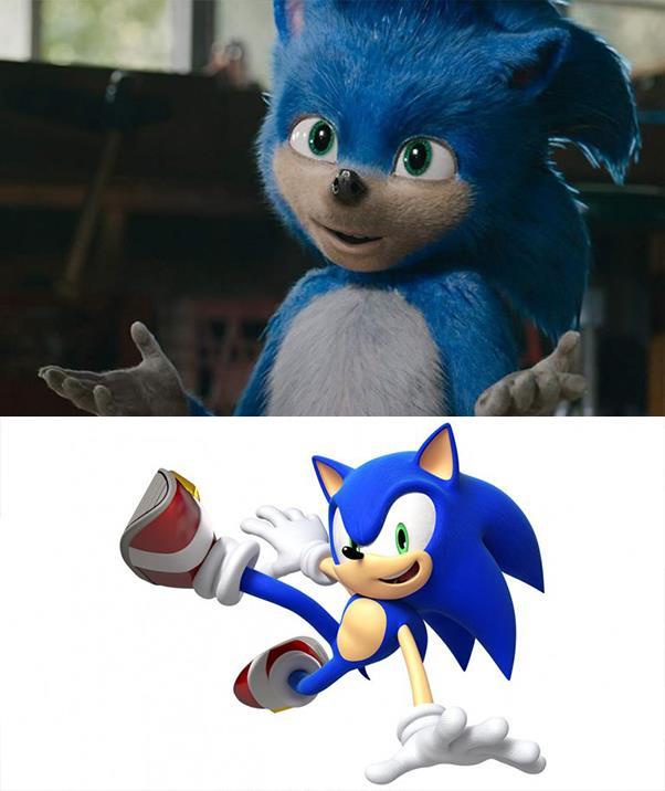 Top - the original Sonic design (*Paramount Pictures*), bottom - Sonic as designed in the Sega video games (*Sega*).