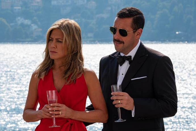 Jennifer Aniston and Adam Sandler star in *Murder Mystery.*