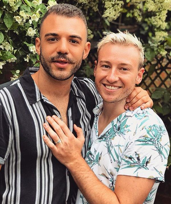 "**Matthew Mitcham and Luke Rutherford** <br><br> Former Olympic diver and *Dancing With The Stars* contestant Matthew Mitcham announced his engagement to Luke Rutherford in June.  <br><br> Posting this cute snap to Instagram, Matthew wrote:  ""He got down on both knees, I said yes, and now we're engaged"". <br><br> And some big stars were among those congratulating the couple, with *The Bachelor* host Osher Gunsberg, writing ""Just magnificent news. Hooray"".  Meanwhile, *Home And Away* star Lynne McGranger simply added: ""Congratulations!"""