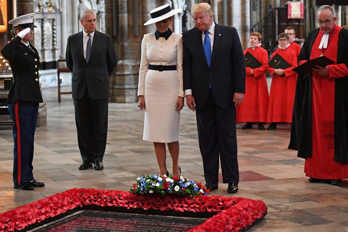 Trump visited Westminster Abbey where he laid a wreath.