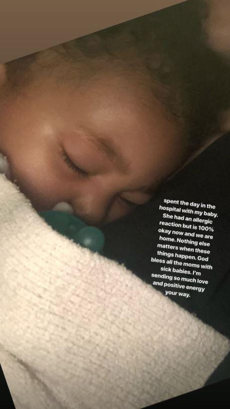 Stormi was rushed to hospital after an allergic reaction.