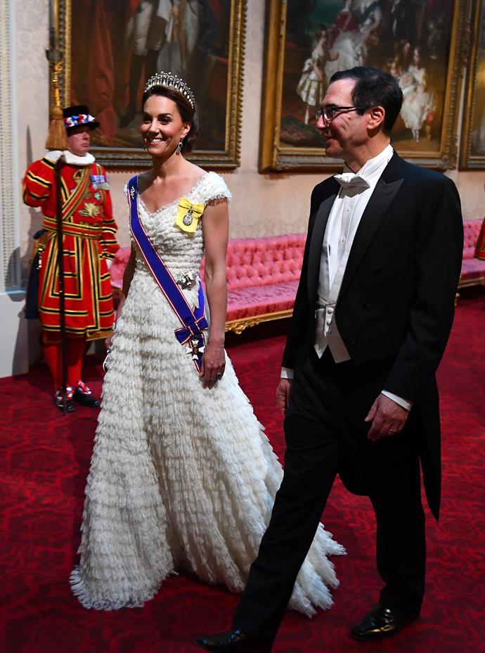 Kate looked heavenly as she attended the banquet in June 2019.