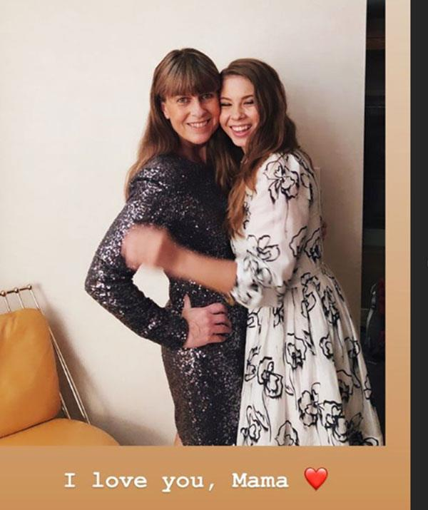 Bindi also shared a cute present day snap of herself hugging mum Terri.