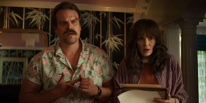 Awkward, busted by Hopper and Joyce. (Image: Netflix.)