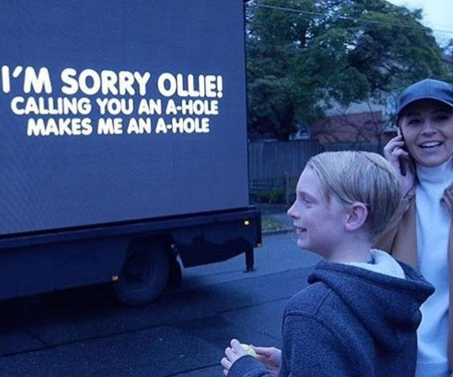 Nothing like getting an apology on the side of a truck!
