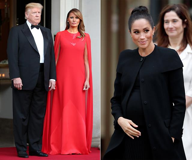 Melania chose to wear one of Meghan Markle's favourtie designers, Clare Waight Keller at Givenchy.