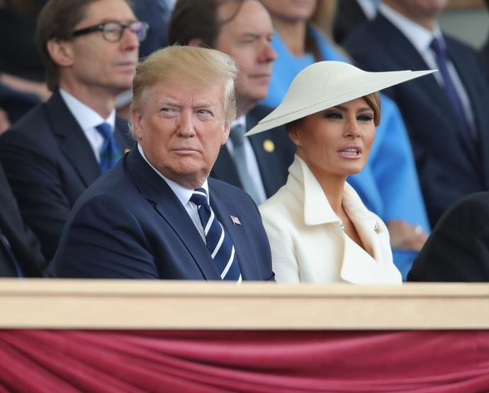Melania opted for a cream ensemble.
