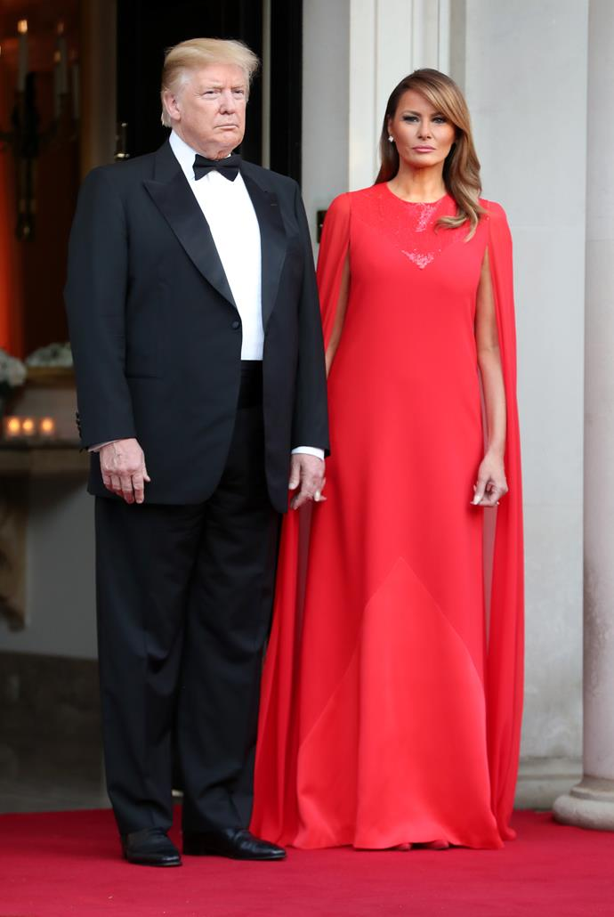 Melania's stunning red dress was designed by none other than Clare Waight Keller, the very same creative behind Meghan Markle's coveted wedding gown.