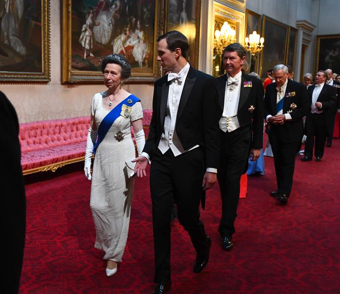 Anne, Princess Royal also wore a white gown for the soiree.