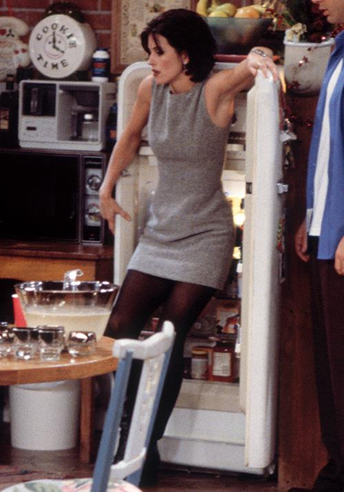 And here we have the perfect transnational look: Semi-opaque tights and a sleeveless mini dress. So chic!