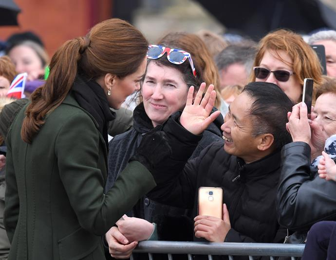And once again, Kate nailed the pony-tail up-do like no other when she stepped out on a rainy day in Blackpool - a smart style for wet weather, might we add!