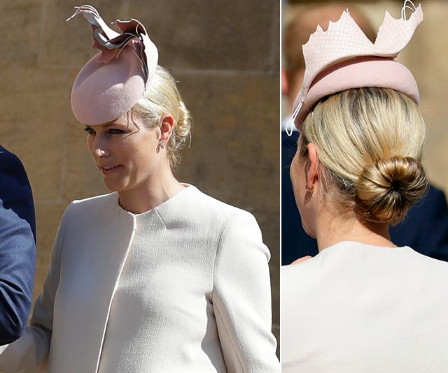 """Zara Phillips is a known lover of the ponytail, but her chic bun worn to the [2019 Easter service](https://www.nowtolove.com.au/royals/british-royal-family/royals-celebrate-easter-2019-55169