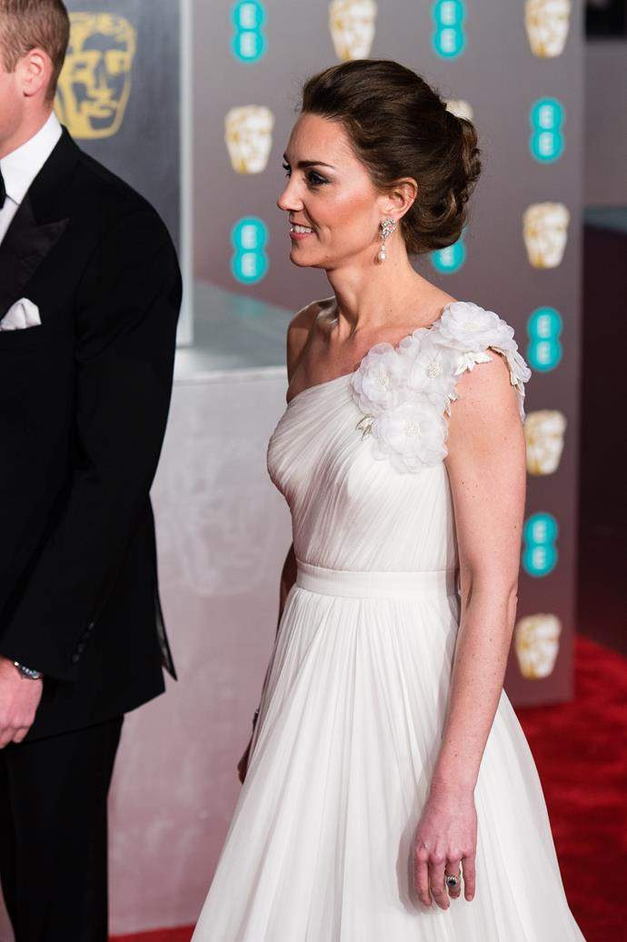 """Kate's 2019 [BAFTA look](https://www.nowtolove.com.au/fashion/red-carpet/royals-bafta-awards-53949